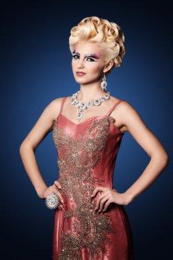 Beautiful woman long nails make up full fashion look