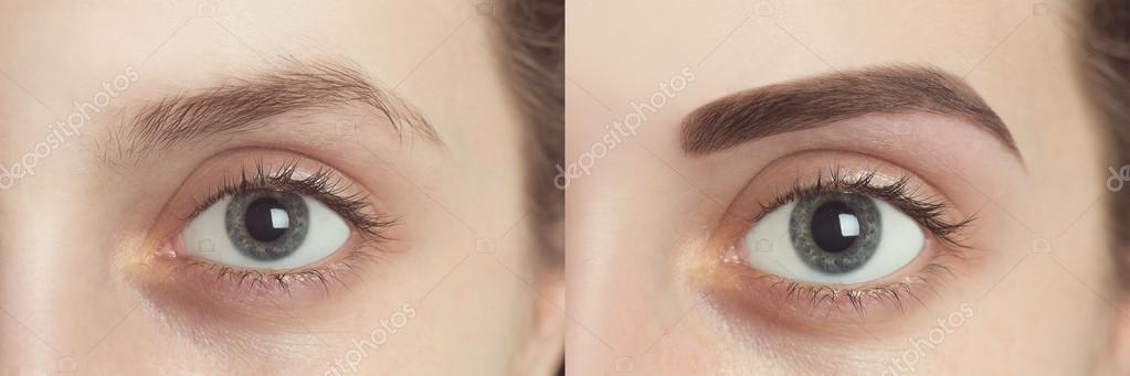 Perfekte Augenbrauen Vorher Nachher Stockfoto Olgaosa 111132366