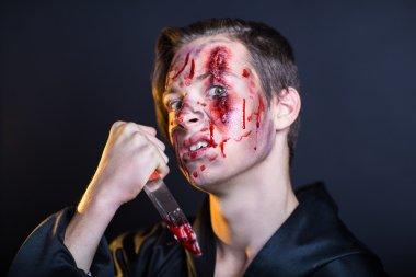Bleeding face man