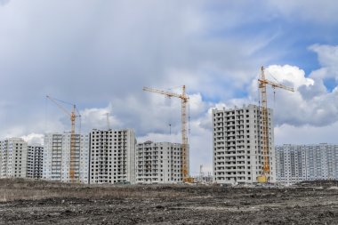 Housing development and crane