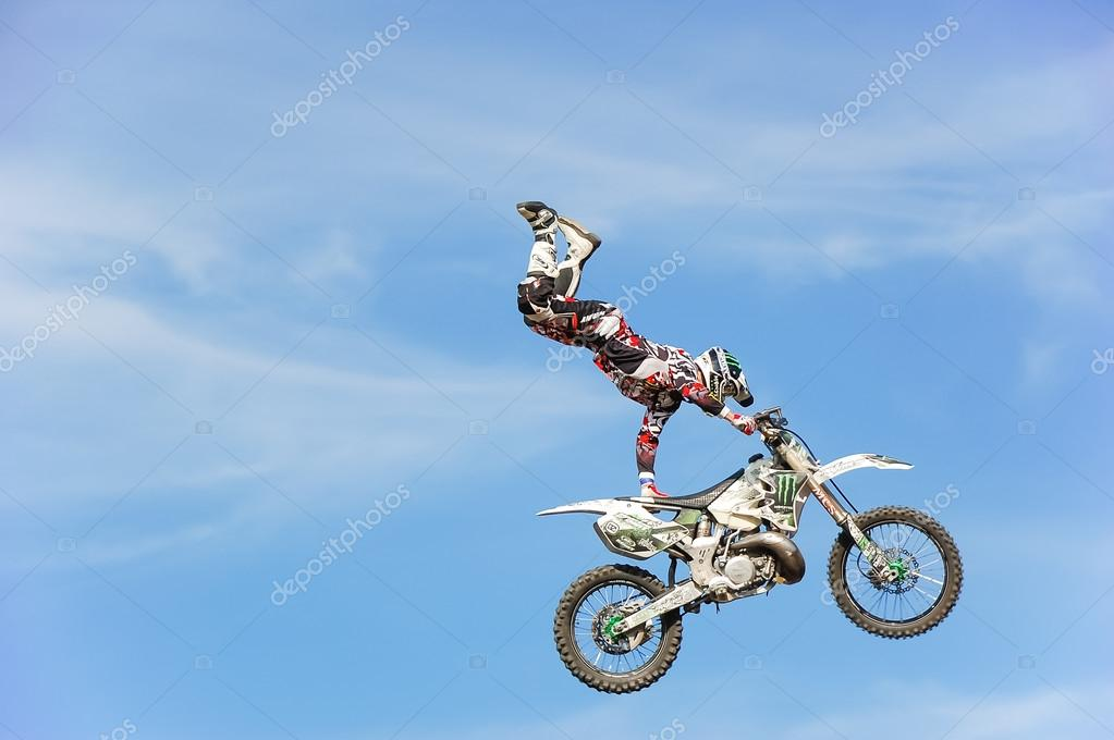 PENZA, RUSSIA - JUNE 18, 2011: Unidentified rider giving a free