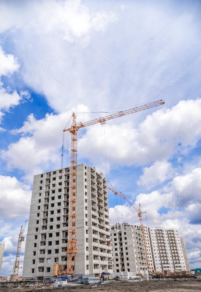 Bau Von Neuen Häusern Und Großen Kran U2014 Stockfoto