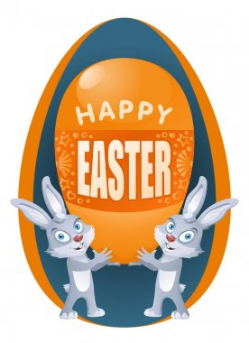 Happy Easter. Funny rabbits holds Easter egg. Cartoon styled vector illustration. On dark background and isolated on white. No transparent objects. Elements is grouped. icon