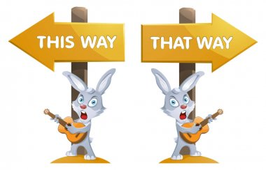 Funny rabbit with a guitar near the signpost. This way and that way. Cartoon styled vector illustration. Elements is grouped.  On white background. No transparent objects. icon