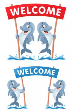 Welcome! Illustration with funny dolphins. Cartoon styled vector illustration. Elements is grouped. No transparent objects. icon