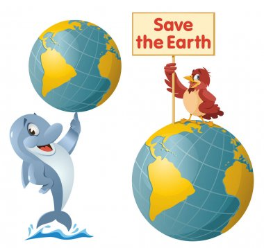Save the Earth vector illustration with cartoon dolphin and sparrow.  On white background. Elements is grouped. icon