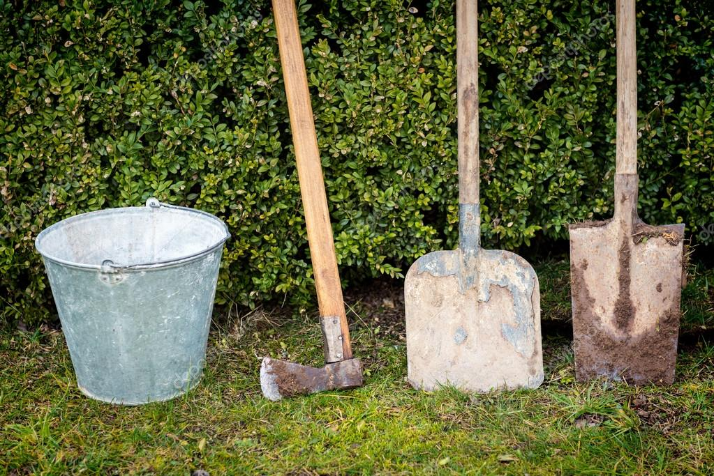 Garden tools, gardening and landscaping concept