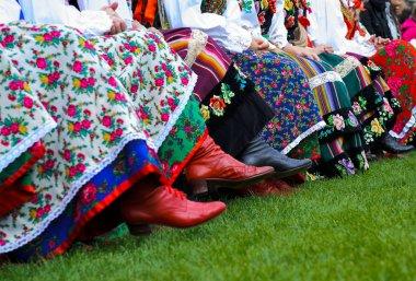 Horizontal color image of traditional polish costumes