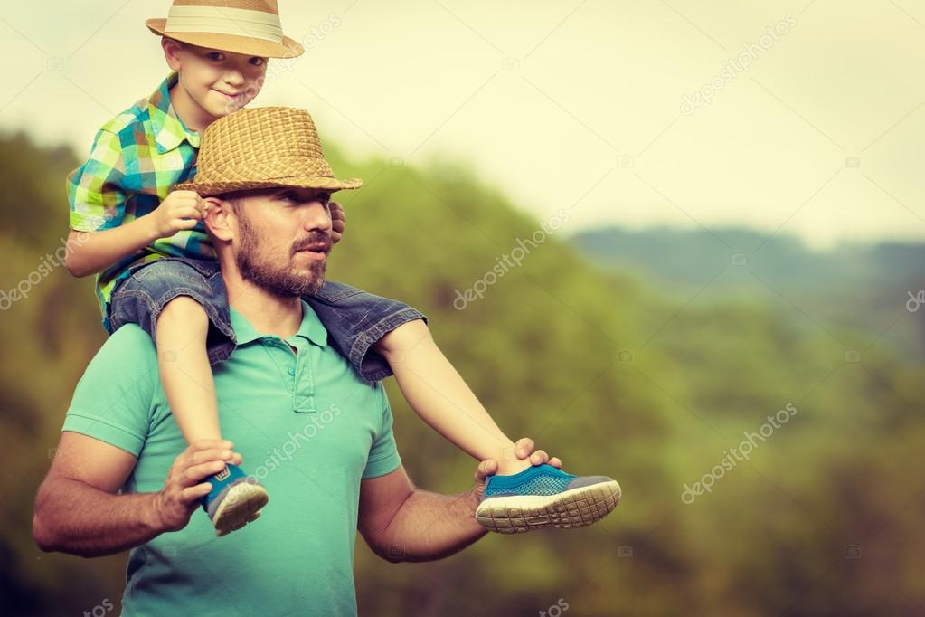 Happy father and son time concept