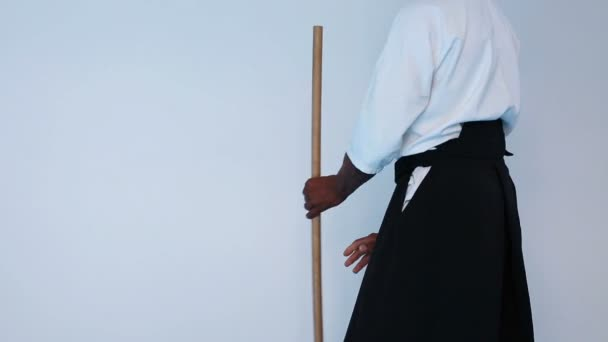 Martial arts Master in black hakama practice martial arts with wooden jo stick