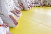 Fényképek Ember ül a harcművészeti képzés tatami kimonó