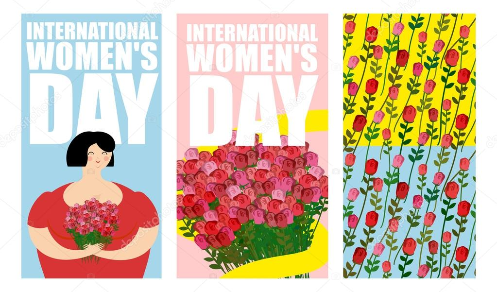 8 march set of postcards international womens day cheerful wo set of postcard international womens day cheerful woman and big bouquet of roses many colors ornament of red roses elements for greeting card template m4hsunfo