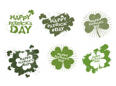 Happy Patricks day logos set in style of grunge. Trace of brush