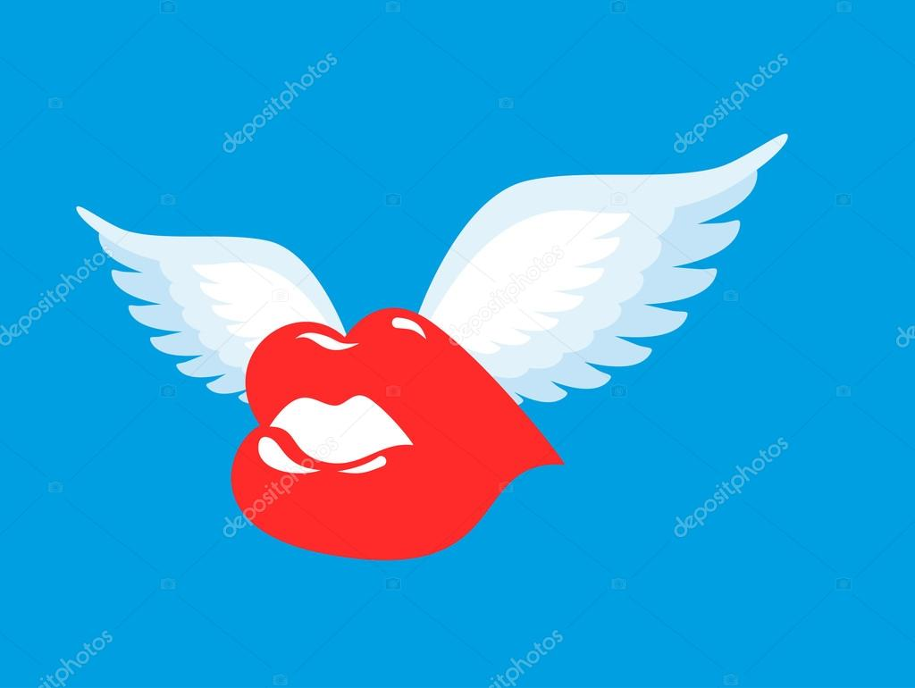 Kiss With Wings Flying Winged Lips Romantic Character Air Kis