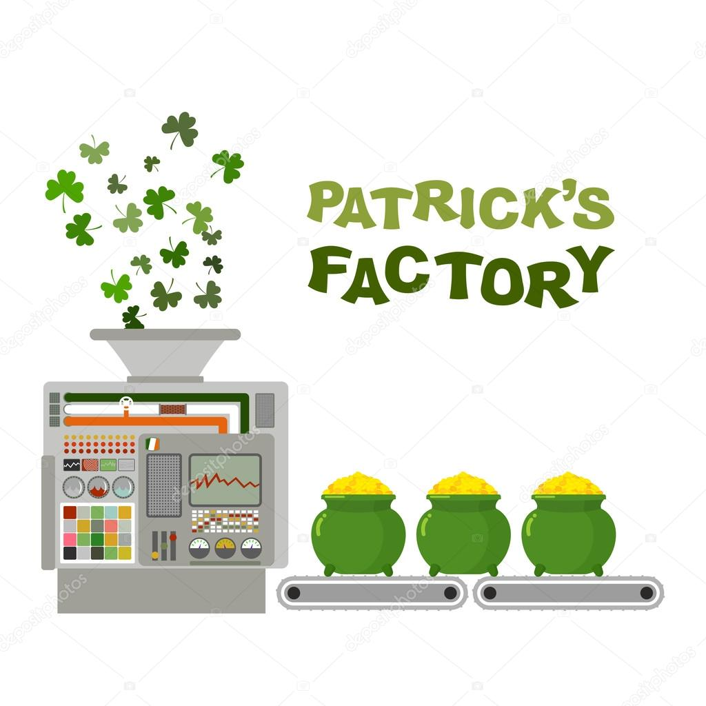Patrick factory. Leprechaun machine. Recycling green clover in g