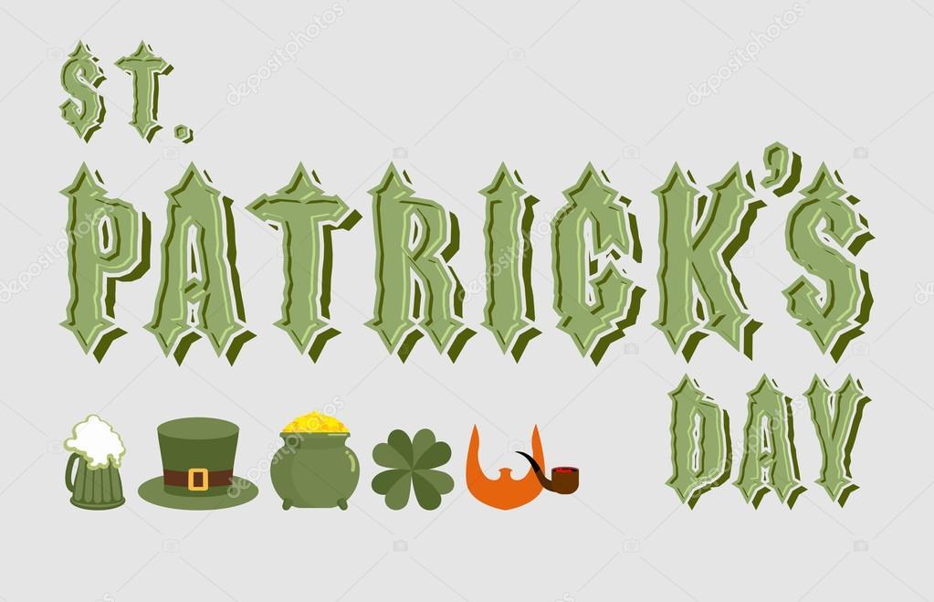 Día del St Patricks. Rotulación. Antigua fuente celta. Iconos para ...