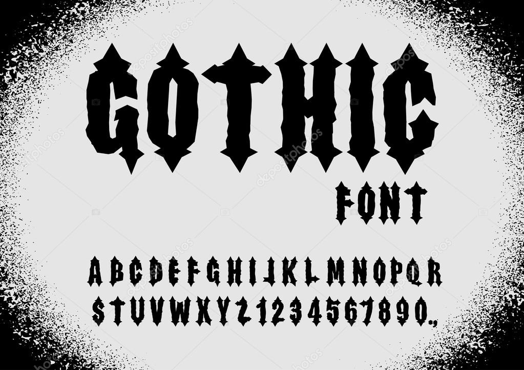 Gothic Font Ancient Letters Vintage Alphabet And Numbers Retro Gothi Vector By Popaukropa