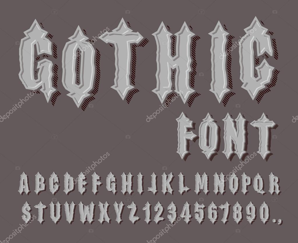 Gothic Font Medieval Letter And Digit Awesome Alphabet F Stock Vector