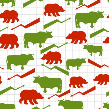 Bulls and bears seamless pattern. Exchange traders. Red up arrow