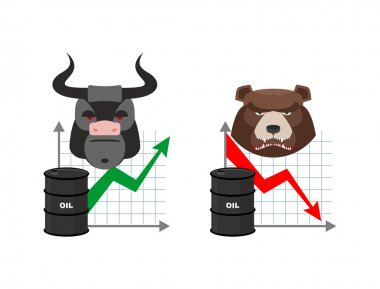 Oil quotations increase. Barrel of oil declines. Bull and bear.