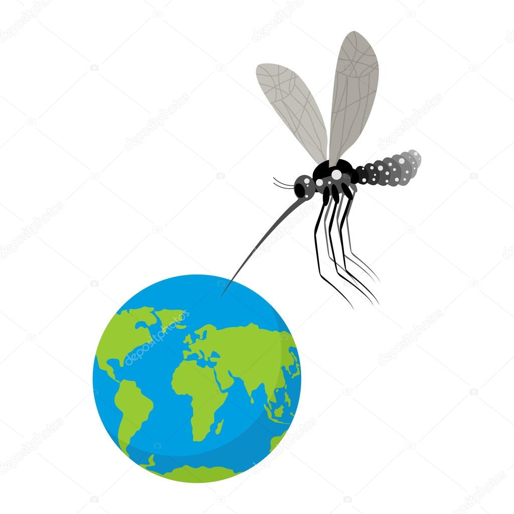 Mosquito and Earth. Zika virus mosquito attacked planet. Humanit