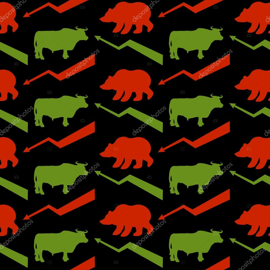 Bulls and bears traders seamless pattern. Green Red Bull and bea