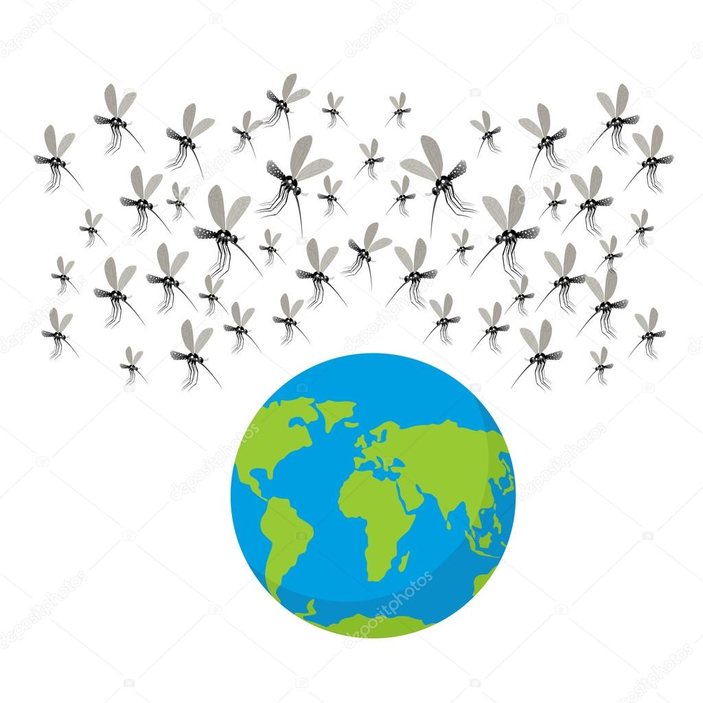 Zika virus mosquitoes. Fflock of mosquitoes. Attack on Earth.  E
