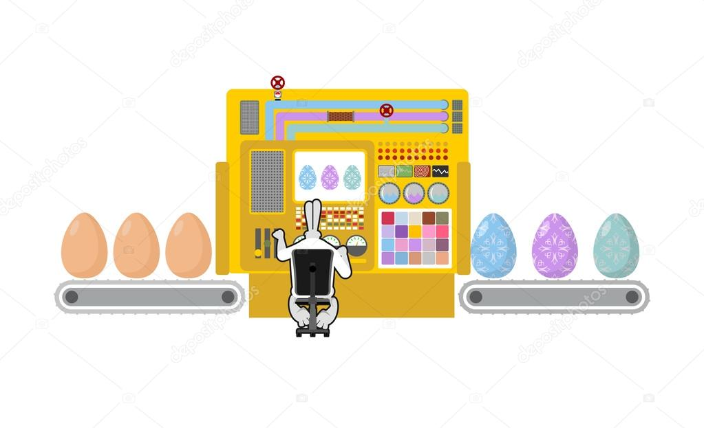Happy Easter. Apparatus for production of Easter eggs. Chicken e