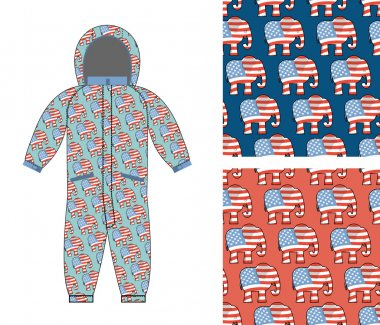 Republican baby Childrens clothing . Republican Elephant seamles