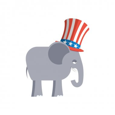 Elephant in Uncle Sam hat. Republican Elephant. Symbol of politi