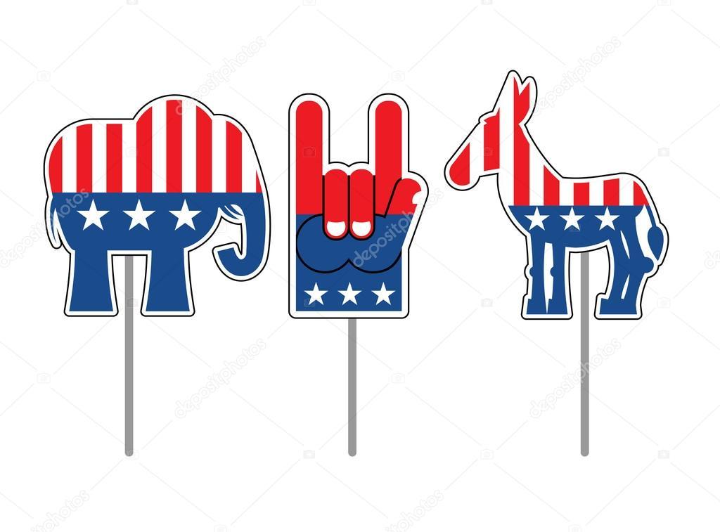 Elephant And Donkey Symbols Of Democrats And Republicans Polit