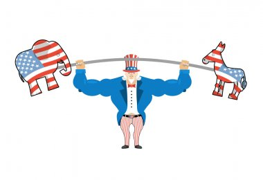 Uncle Sam and donkey and elephant. democratic donkey and republi