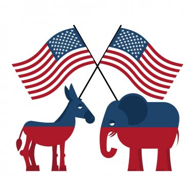 Elephant and donkey. Symbols of Democrats and Republicans. Polit