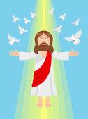 Fotografie Jesus und Tauben. Himmelfahrt Jesu Christi. Sohn Gottes in heav