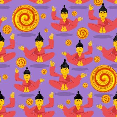Buddha seamless pattern. Seated Buddha in lotus position. Indian