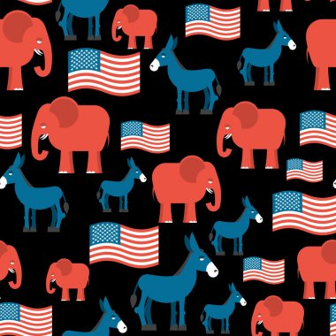 Elephant and Donkey seamless pattern. Symbols of Democrats and R