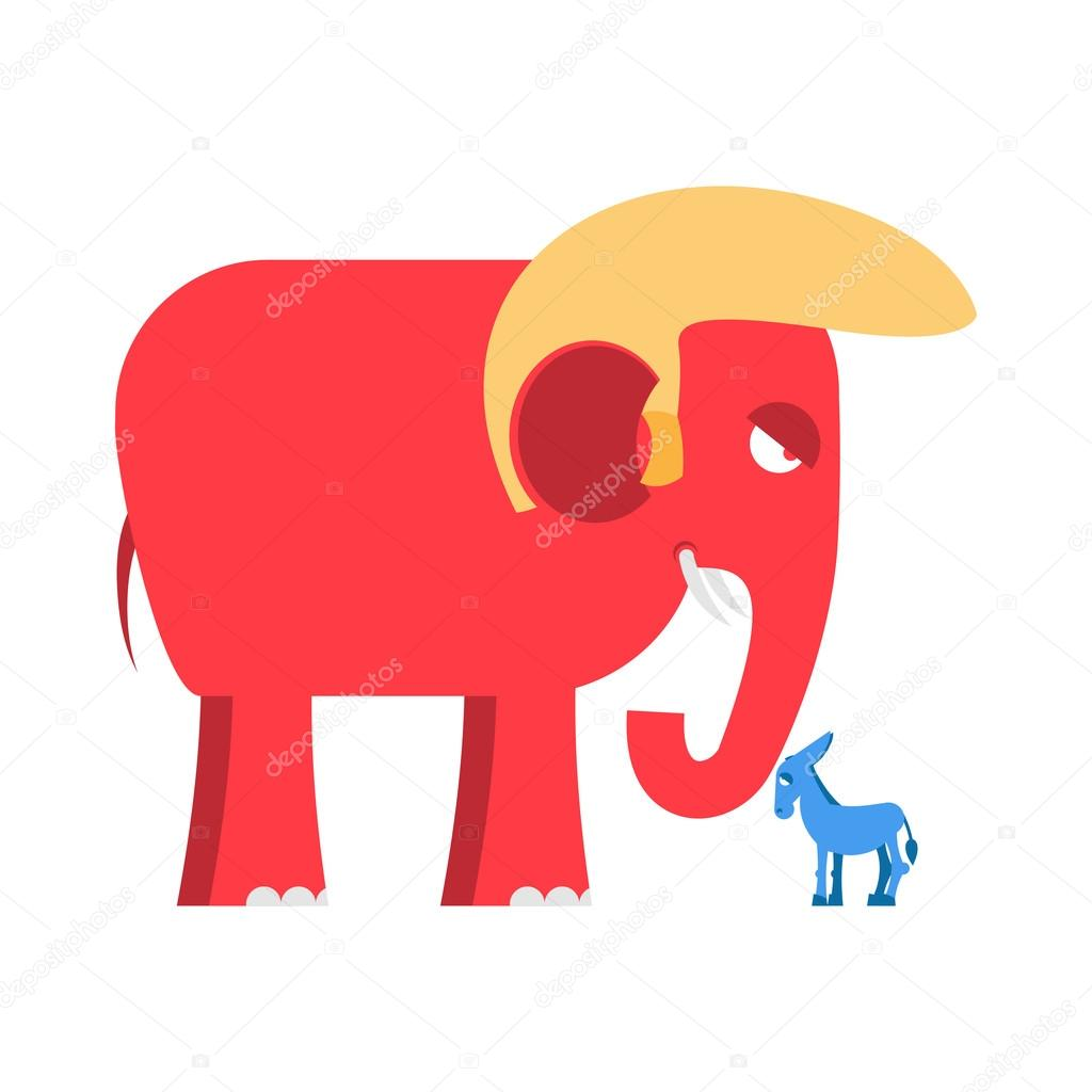 Big Red Elephant And Little Blue Donkey Symbols Of Political Parties