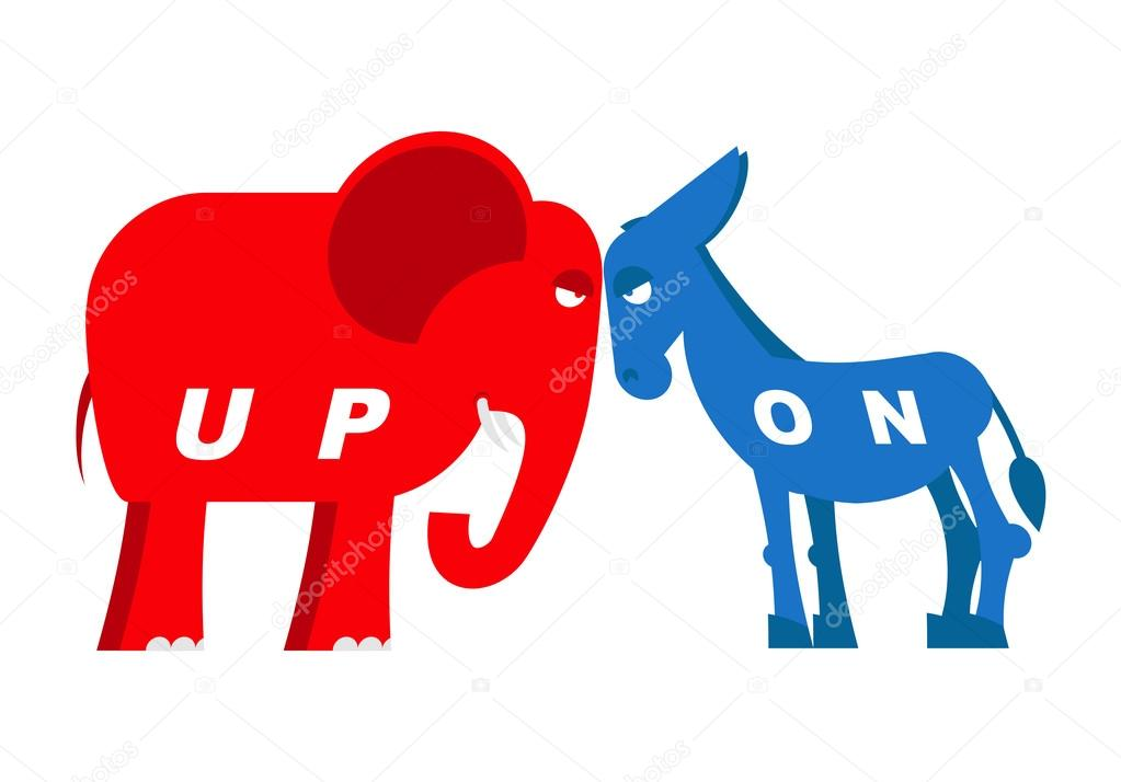Red Elephant And Blue Donkey Symbols Of Political Parties In America