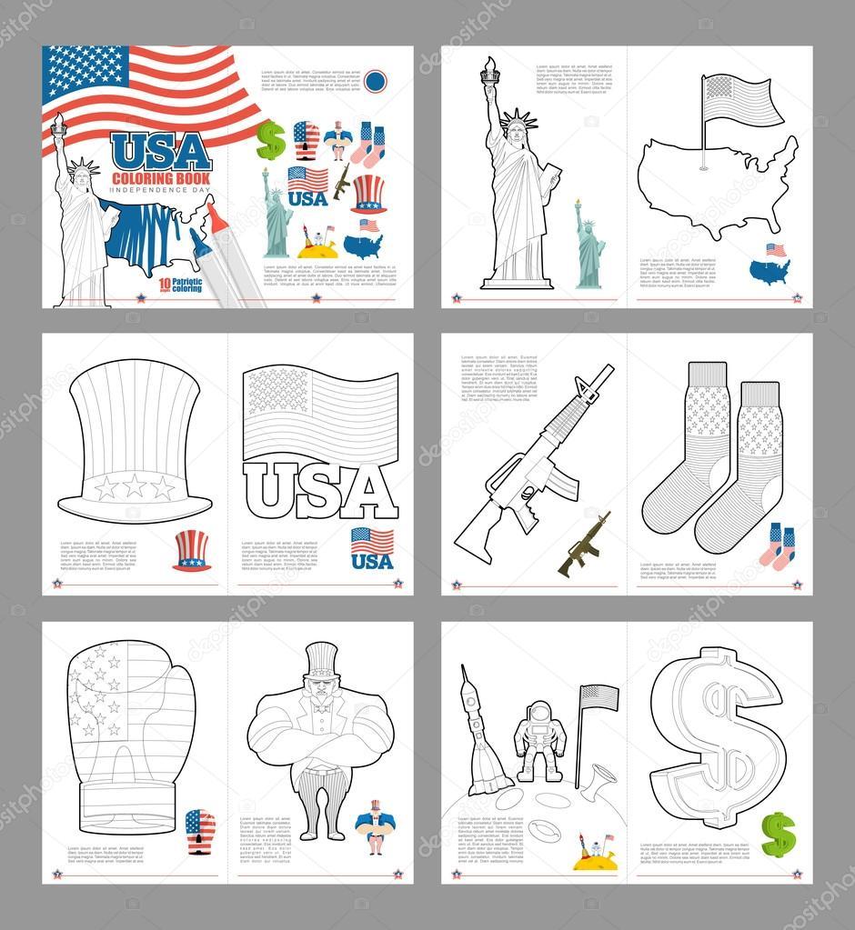 Libro de colorear de Estados Unidos. Libros patriótica para colorear ...