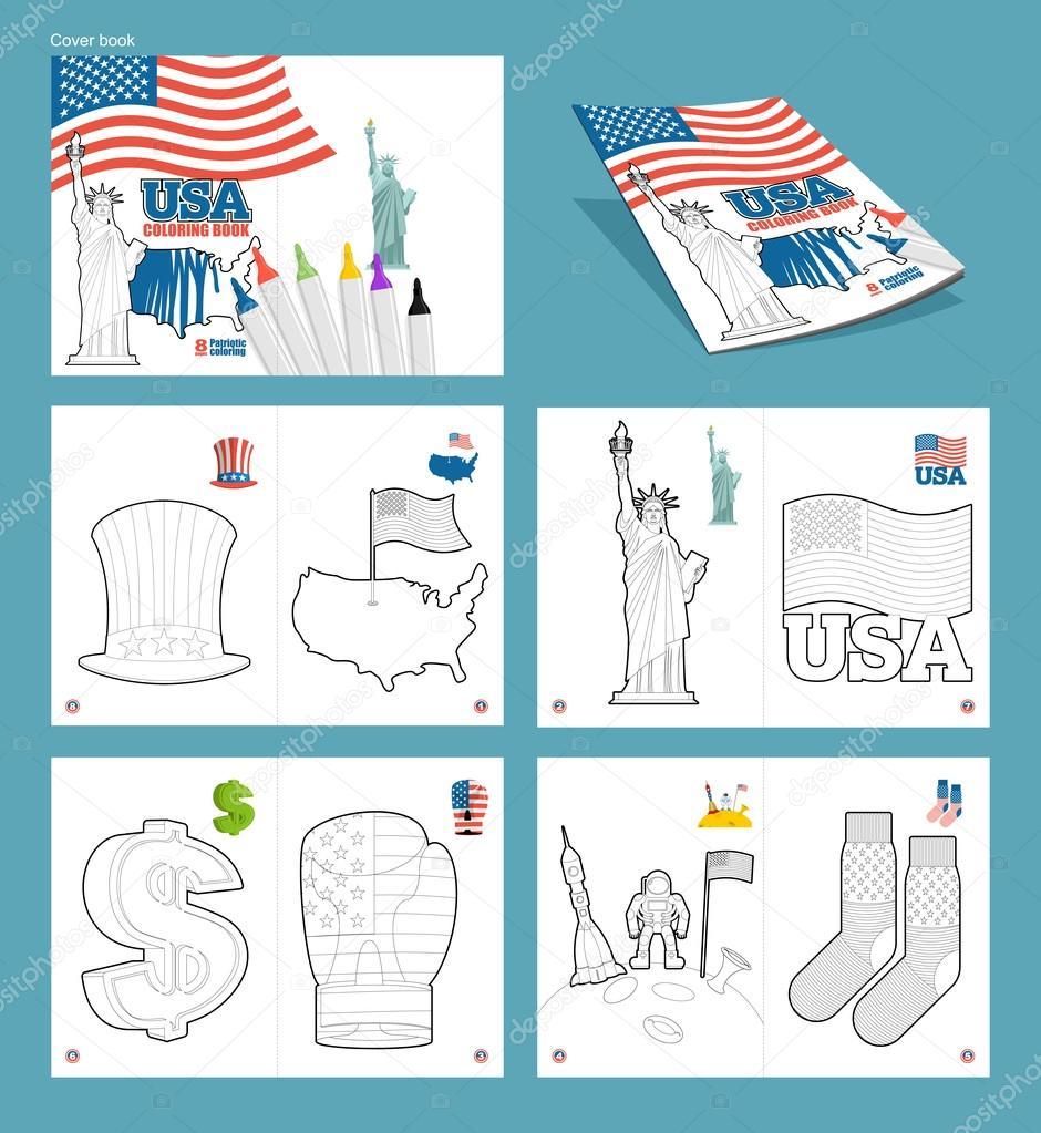 Libro de colorear de Estados Unidos. Ilustraciones patrióticas. Ame ...