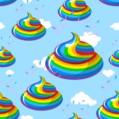 Unicorn shit seamless pattern. Turd color rainbow background. Mu