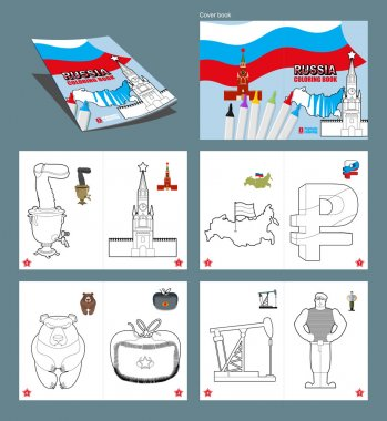 Russia coloring book. Patriotic sign for coloring. National Symb