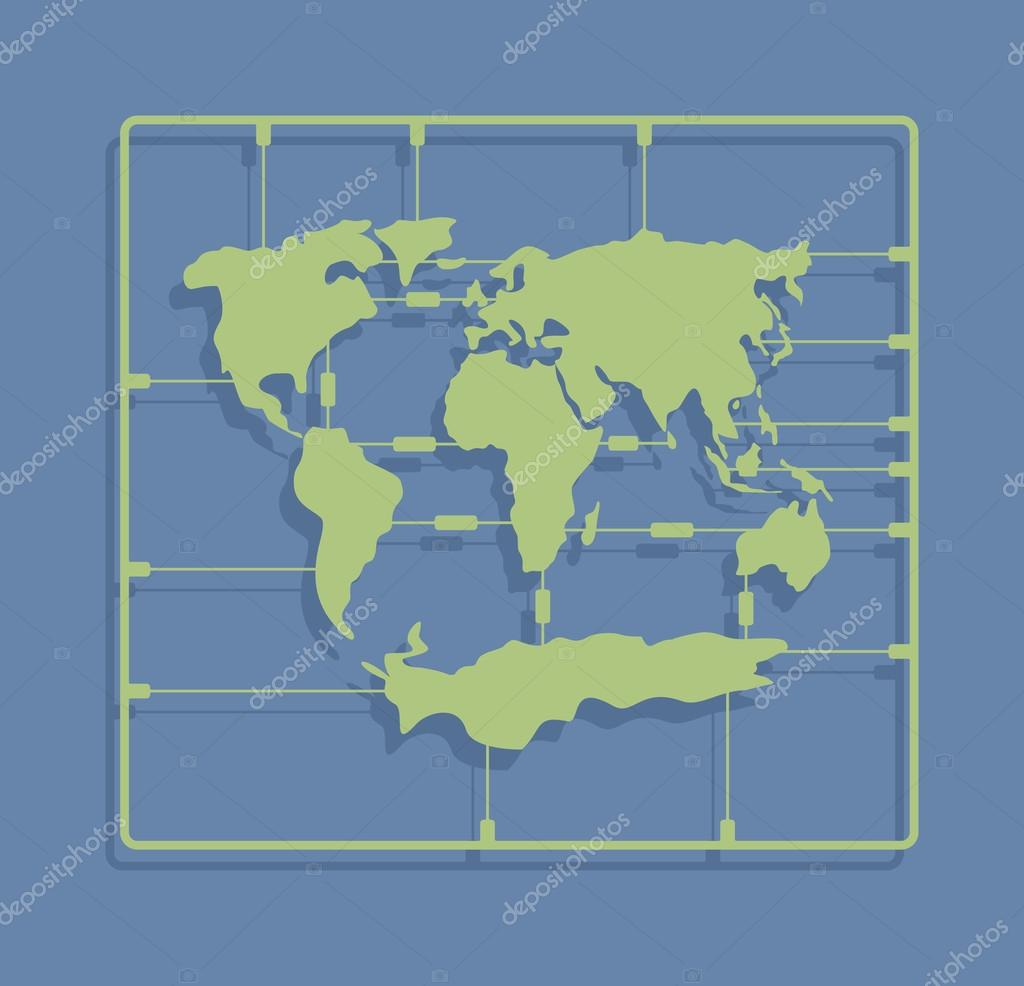 World map sprue or injection molding toy. Earth plastic model ki
