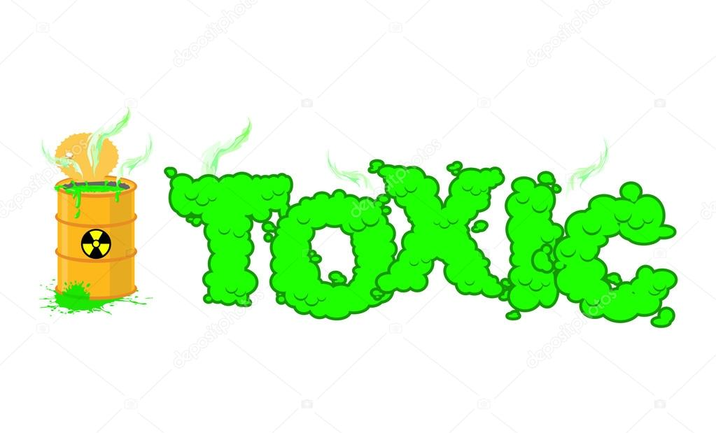 Toxic Text Poisonous Green Fumes Open Barrel With Hazardous Li
