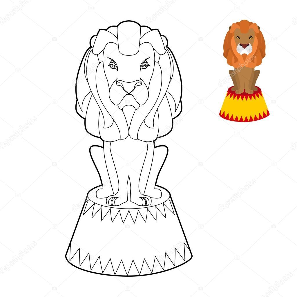 Libro de colorear de León de circo. Animal seria grande en estilo ...