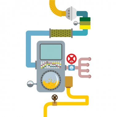 Processing system. working mechanism. Valves and pipes. Sensors