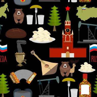 Russian symbols seamless pattern. Russia national ornament. Stat