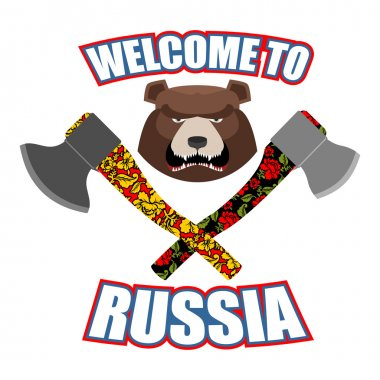 Welcome to Russia. Emblem of angry head bear and axe. Bladed wea
