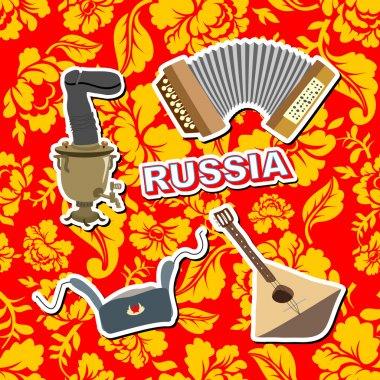 Set russian icons.  Balalaika, Samovar, Ushanka, accordion. back