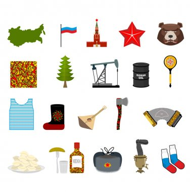 Russia set icons. Traditional objects of country. Russian nation